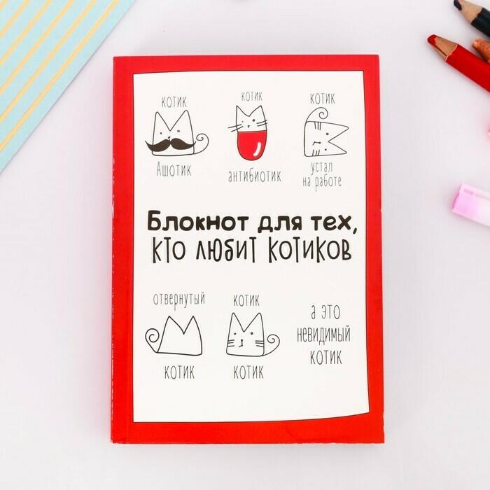"""Блокнот творческого человека в мягкой обложке """"Блокнот для тех, кто любит котиков"""" А6+ 120 л"""