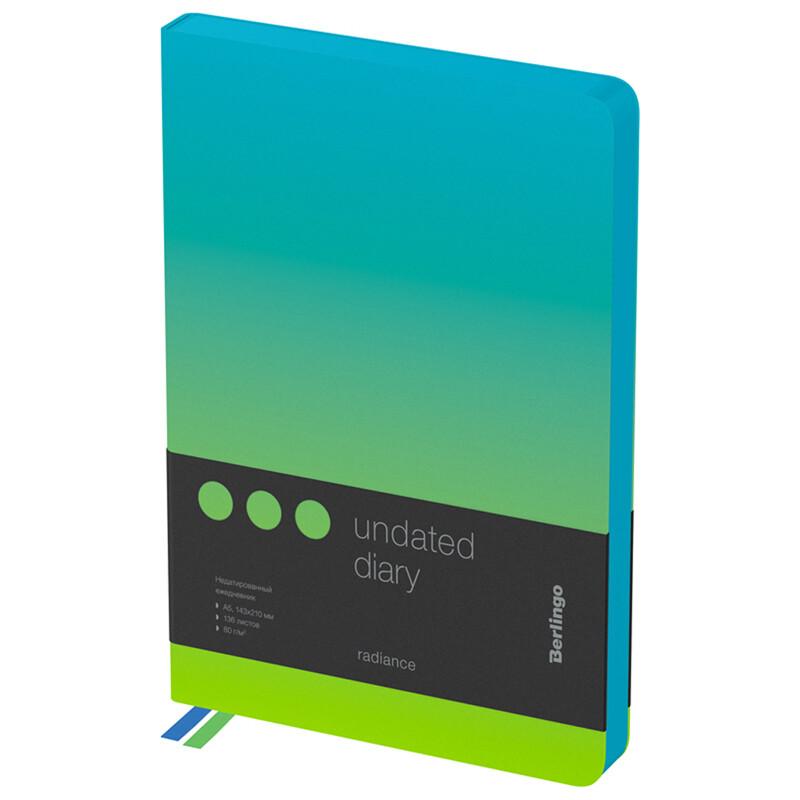 """Ежедневник недатир. A5, 136л., кожзам, Berlingo """"Radiance"""", голубой/зеленый градиент"""