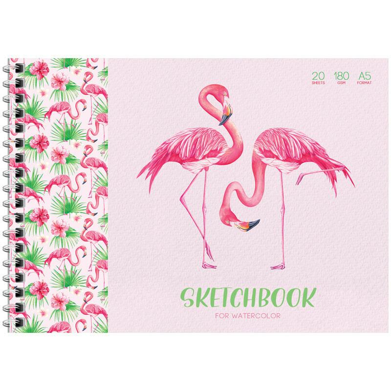 "Скетчбук-блокнот для акварели 20л. А5 на гребне ArtSpace ""Tropical style"", 180г/м2"