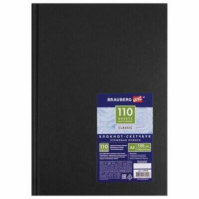 Блокнот-скетчбук, твердый переплет, кремовая бумага, А5, 148х210мм, 100г/м2, 110 л, BRAUBERG