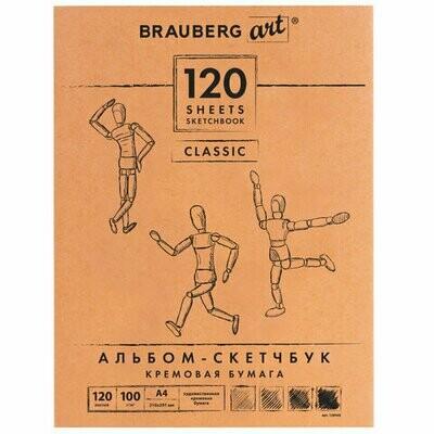 Скетчбук, слоновая кость 100 г/м2, 210×297 мм, 120 л., прошивка, BRAUBERG ART «CLASSIC», 128960