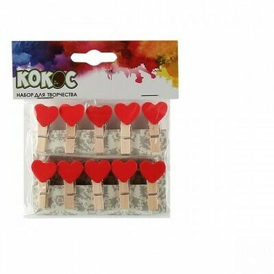 Прищепки деревянные набор 10шт 3,5см Сердце 187397 КОКОС