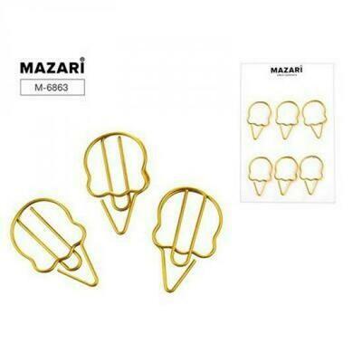 Набор скрепок 6шт Mazari M-6863 фигурные золото