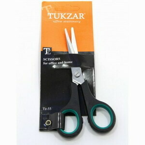 Ножницы: пластиковые ручки, резиновые вставки, европодвес, лезвие 14 см.TZ 55