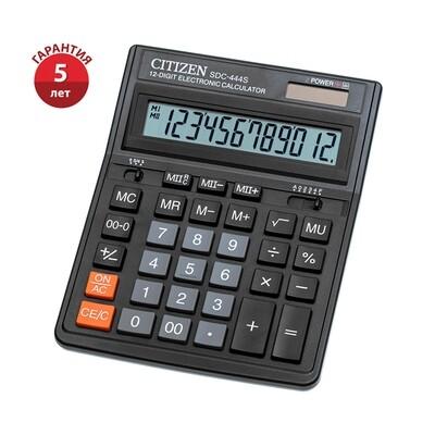Калькулятор настольный Citizen SDC-444S, 12 разрядов, двойное питание, 153*199*31мм, черный