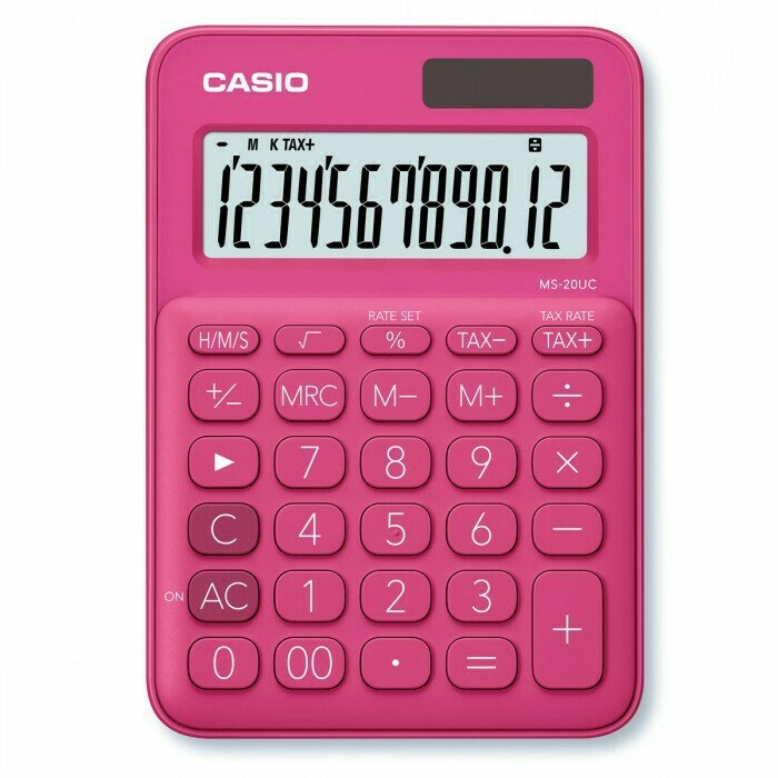 Калькулятор Casio (12 разр) MS-20UC-RD-S-EC 150*105*23мм красн