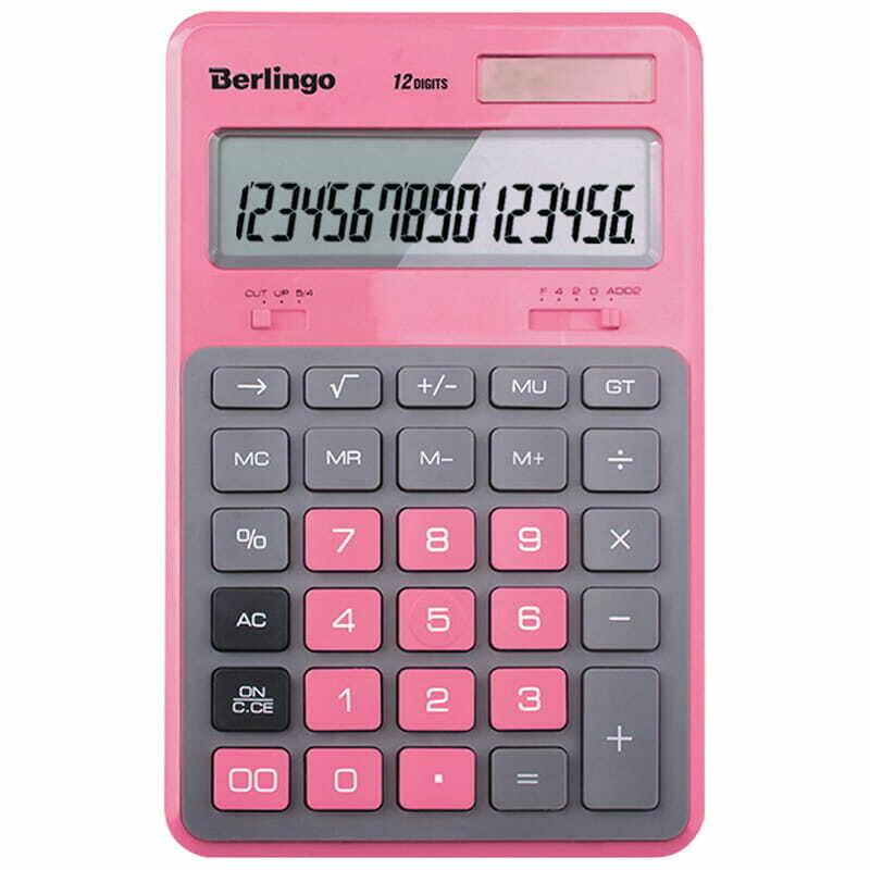 """Калькулятор настольный Berlingo """"Hyper"""", 12 разр., двойное питание, 171*108*12, розовый"""