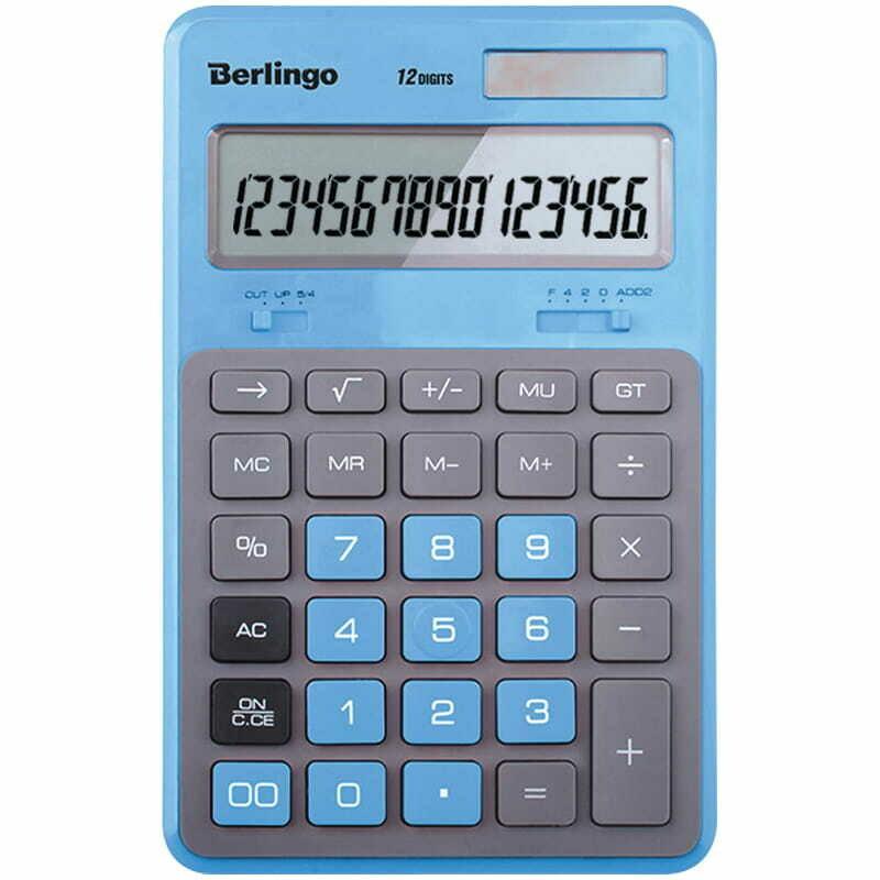 """Калькулятор настольный Berlingo """"Hyper"""", 12 разр., двойное питание, 171*108*12, синий"""