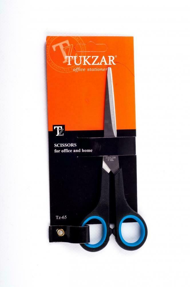 Ножницы: пластиковые ручки, резиновые вставки, европодвес, лезвие 17 см.TZ 65
