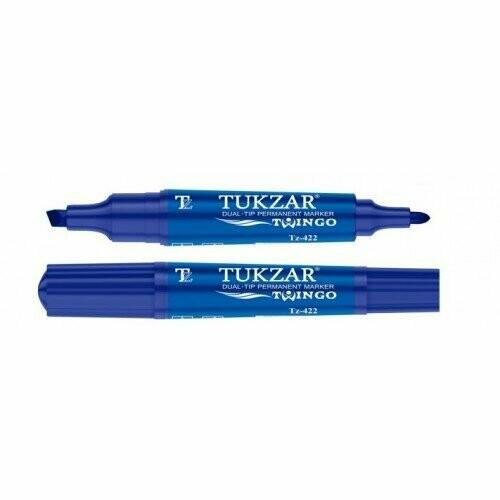 Перманентный маркер TZ-422 Tukzar двухсторонний (Синий)