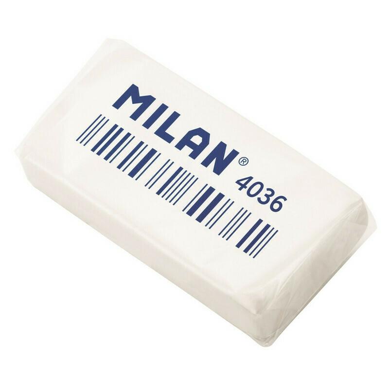 Ластик каучуковый Milan 4036, 3,9х2х0,8, белый
