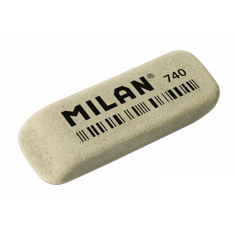 Ластик каучуковый Milan 740 для стирания чернил, серый