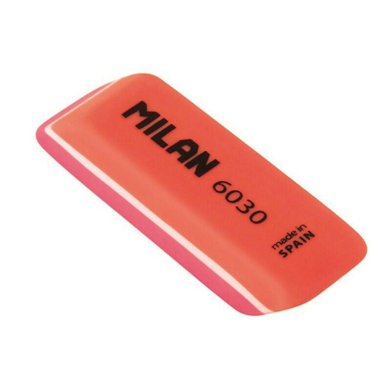 Ластик пластиковый Milan 6030 скошенной формы, цвета в ассорт