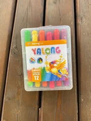 Мелки гелиевые-акварельные  YL95076-12 Yalong