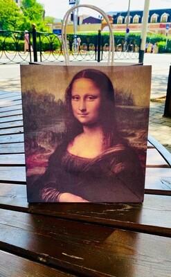 Пакет подарочный крафтовый «Мона Лиза», 22 × 25 × 12 см