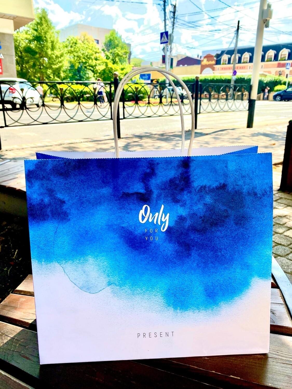 Пакет подарочный крафт Only for you, 32 × 28 × 15 см