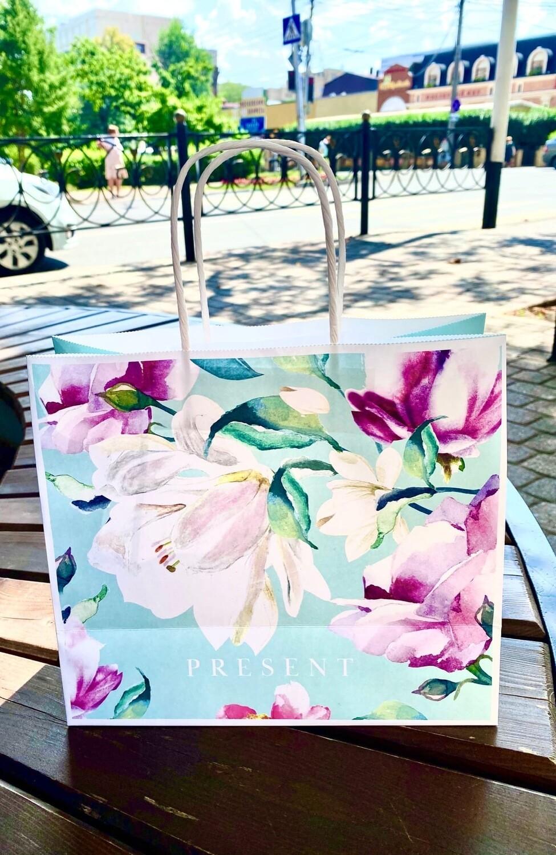 Пакет подарочный крафтовый Present, 25 × 22 × 12 см