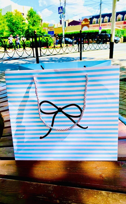"""Пакет подарочный 27*31*18см """"Нарисованный бантик"""""""