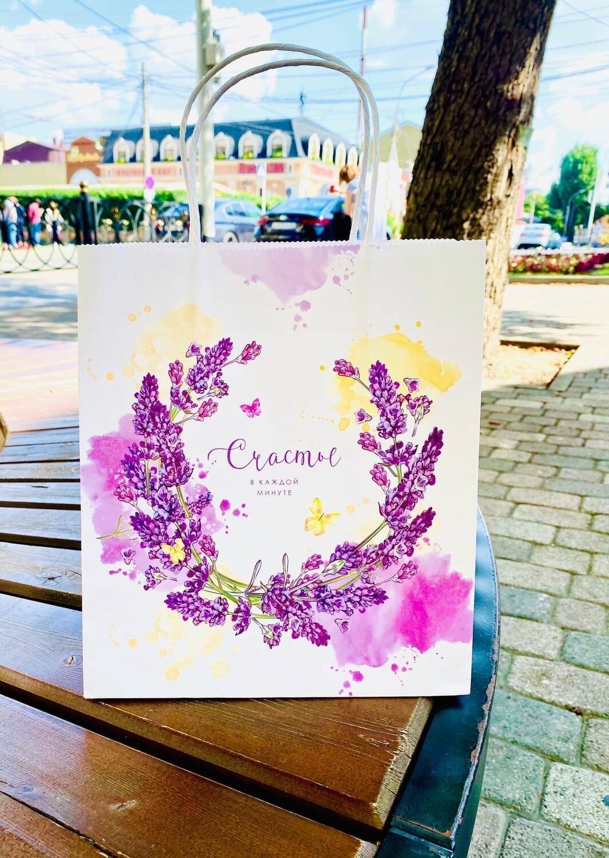Пакет подарочный крафт «Счастье в каждой минуте», 22×25×12 см