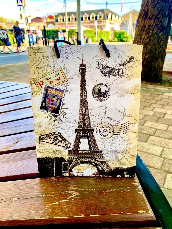 """Пакет подарочный 18*23*10 см """"Лондон - Париж"""""""