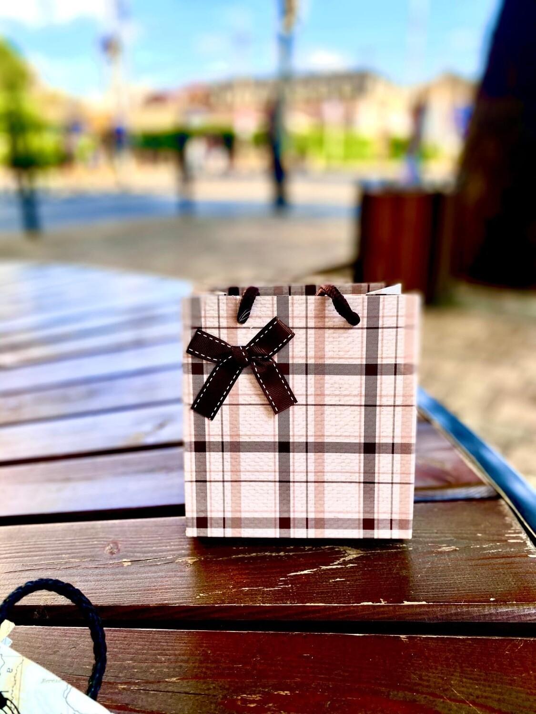 """Пакет подарочный 14*15*7см """"Классическая клетка"""""""