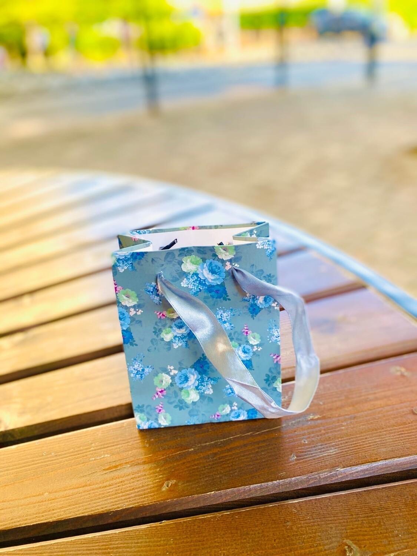 """Пакет подарочный 12*15*8 см """"Цветы с блёстками"""""""