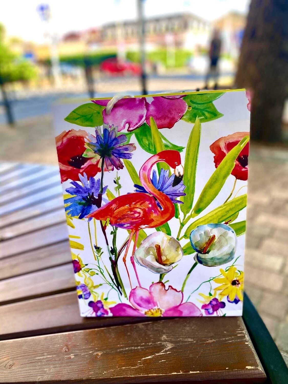 Пакет подарочный 26*32*12 см Фламинго