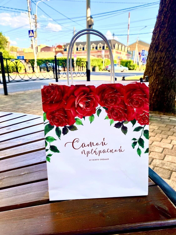 Пакет подарочный крафт «От всего сердца», 22 × 25 × 12 см