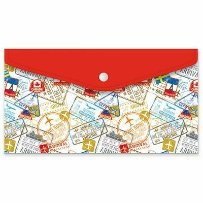 Папка для документов арт.46515/12 ПУТЕШЕСТВИЕ (26x14, одно отделение, пластик, кнопка, УФ-печать)