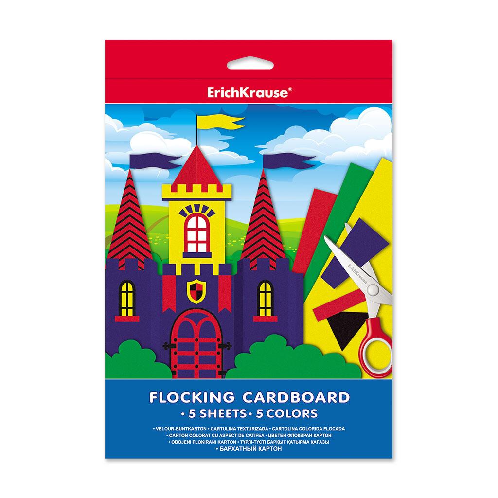 Бархатный картон ErichKrause® А4 5 листов/5 цветов, игрушка-набор для детского 37201