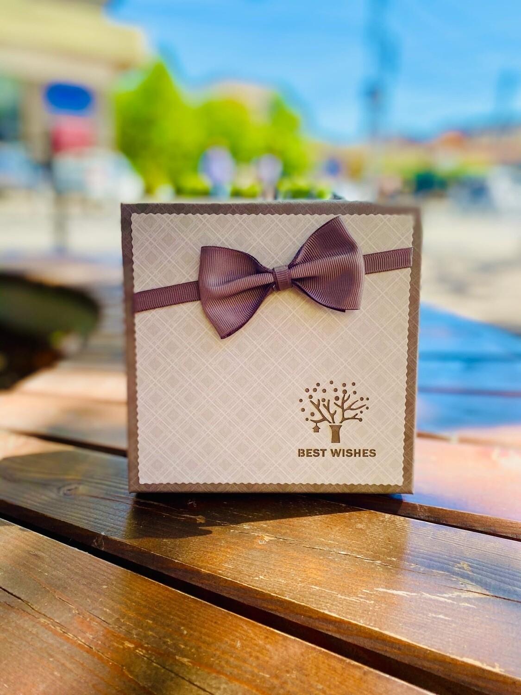 """Набор подарочных коробок квадратная  с бантиком""""BEST WISHES""""  3 мал"""
