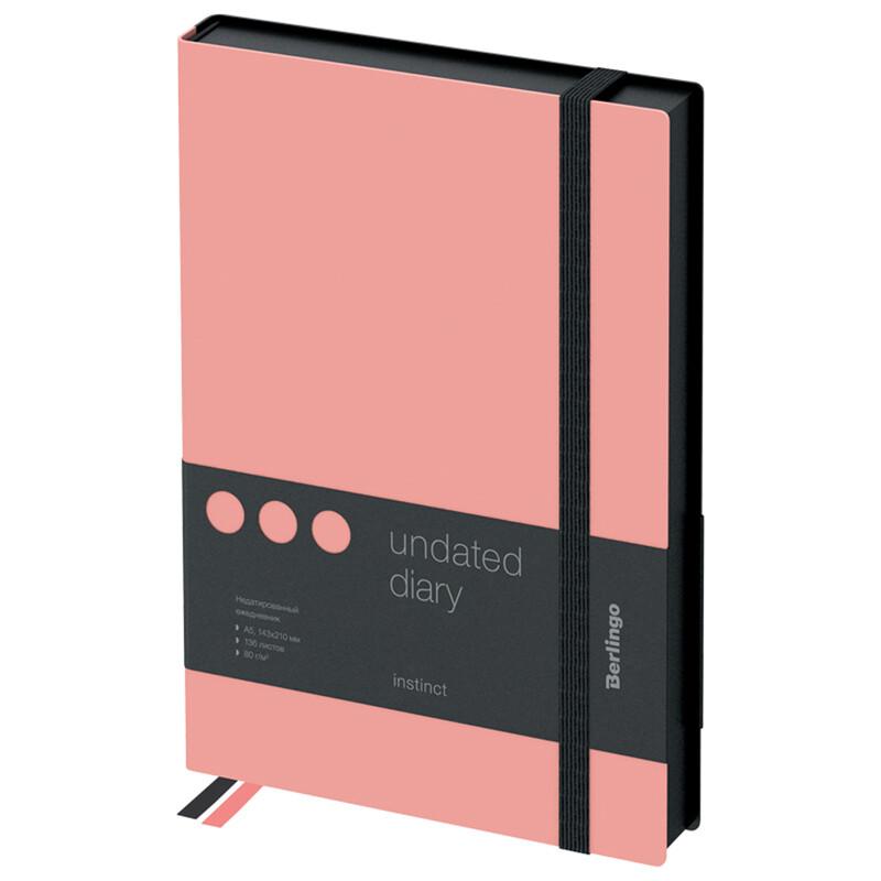 """Ежедневник недатир. A5, 136л., кожзам, Berlingo """"Instinct"""", черный/фламинго, с резинкой UD0_91501"""