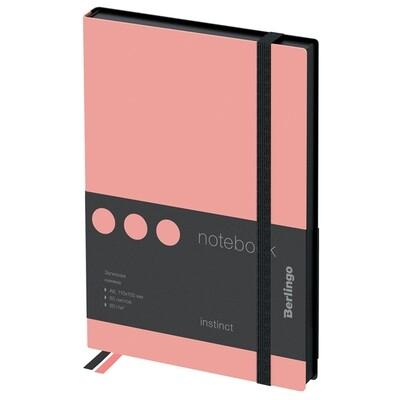 """Записная книжка А6 80л., кожзам, Berlingo """"Instinct"""", черный срез, черный/фламинго, с резинкой"""