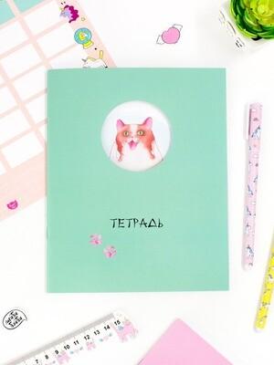 Тетрадь в клетку 24 листа ТРВ-04 Котик с мышкой.