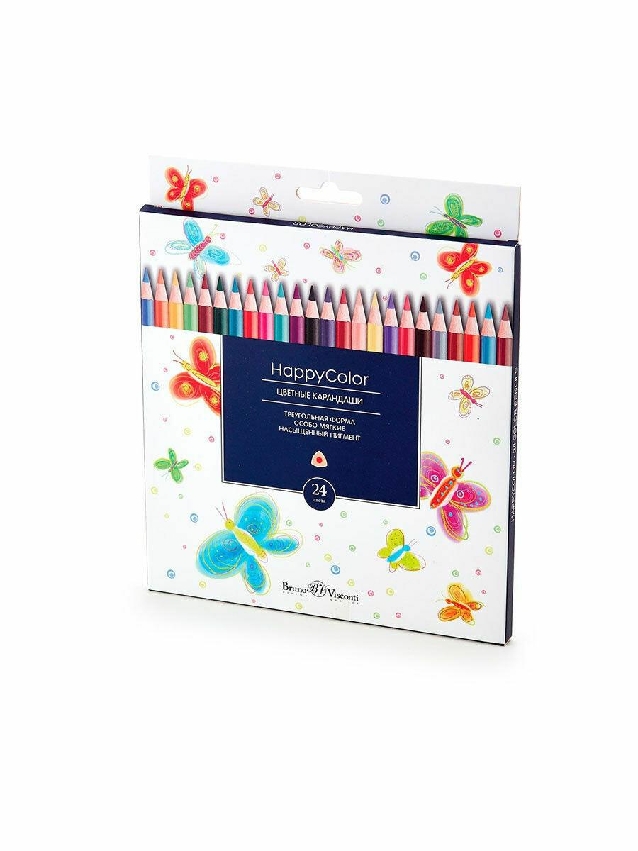Карандаши цветные BrunoVisconti HappyColor трехгранные 30-0053 европодвес картонная коробка ассорти