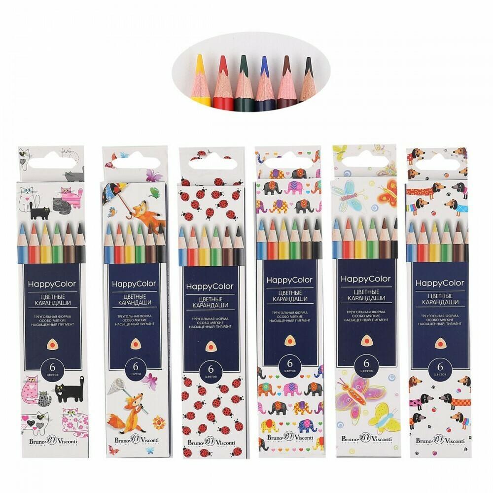 Карандаши цветные 6цв BrunoVisconti HappyColor трехгранные 30-0051 европодвес картонная коробка ассо