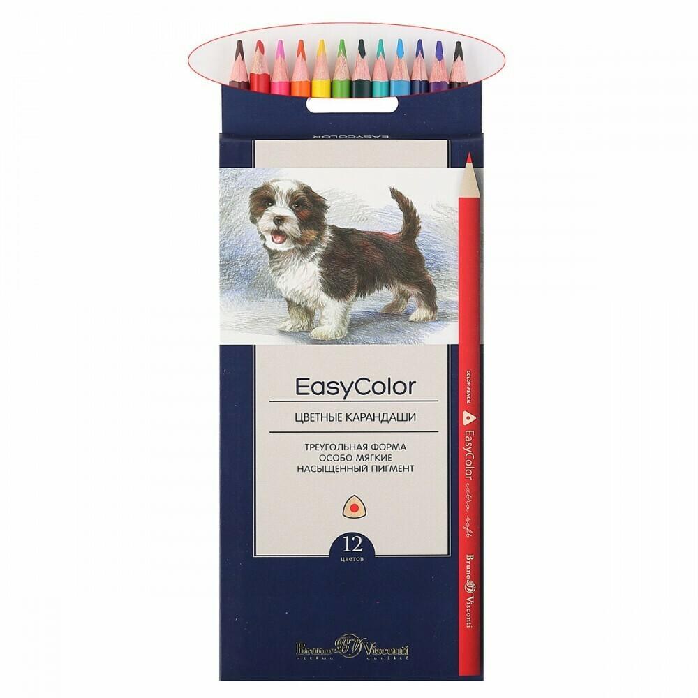 Карандаши цветные 12цв BrunoVisconti Easycolor трехгранные 30-0028 европодвес картонная коробка