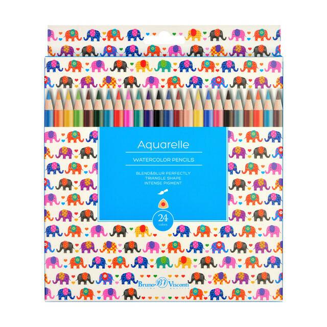 Карандаши цветные акварельные 24цв BrunoVisconti HappyColor трехгранные 30-0068 европодвес картонная