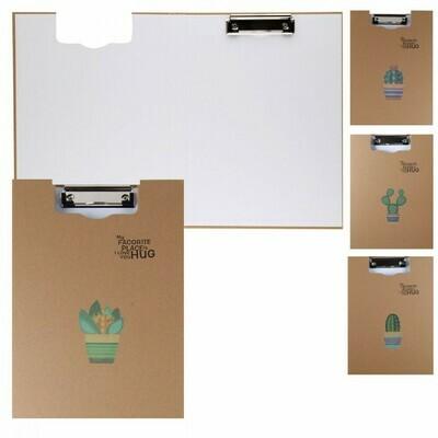 Папка-планшет с зажимом А4 крафт КОКОС WENLV Кактус 209720 ассорти 4 вида