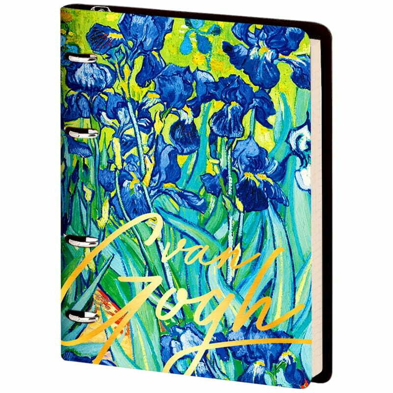 "Тетрадь на кольцах А5, 80л. ЛАЙТ, кожзам, Greenwich Line ""Vision. Van Gogh. Irises"", тон. блок"