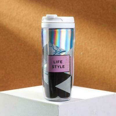 Термостакан с голографической вставкой «Life style», объемом 350 мл