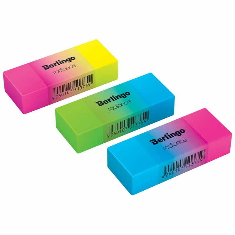 """Ластик Berlingo """"Radiance """", прямоугольный, цвета ассорти, 50*18*10мм"""