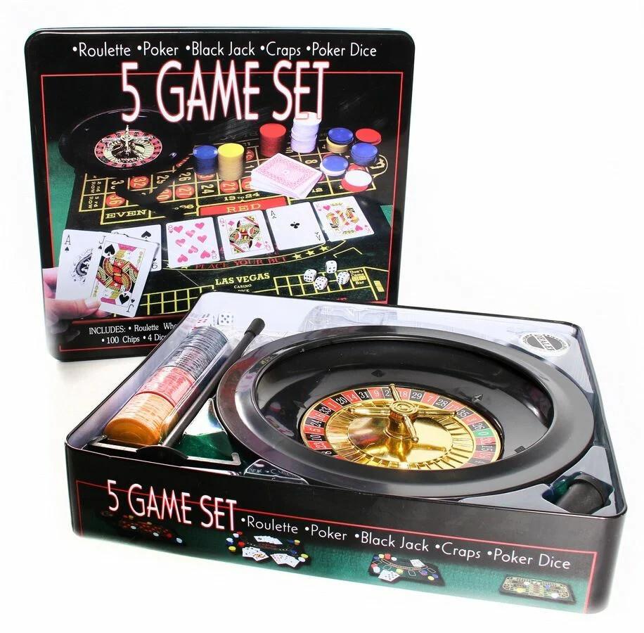 """Игровой набор """"Казино"""" 5 в 1 (Покер, Рулетка, Блэкджэк, Крэпс, Покер на костяx)"""