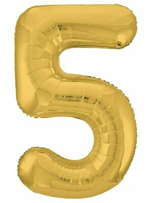 Воздушный шар цифра 5 золото 1 метр