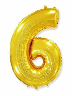 Воздушный шар цифра 6 золото 1 метр