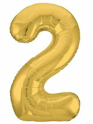 Воздушный шар цифра 2 золото 1 метр