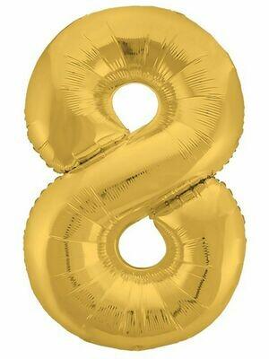 Воздушный шар цифра 8 золото 1 метр