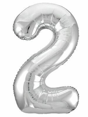 Воздушный шар цифра 2 серебро 1 метр