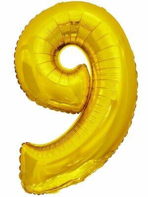 Воздушный шар цифра 9 золото 1 метр