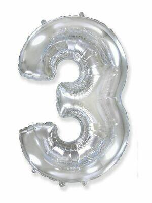 Воздушный шар цифра 3 серебро 1 метр